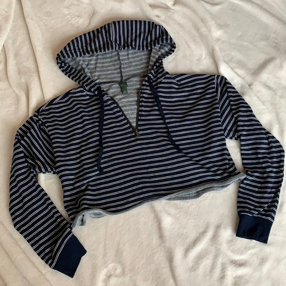 Wild Fable Cropped Striped Hoodie with quarter zipper